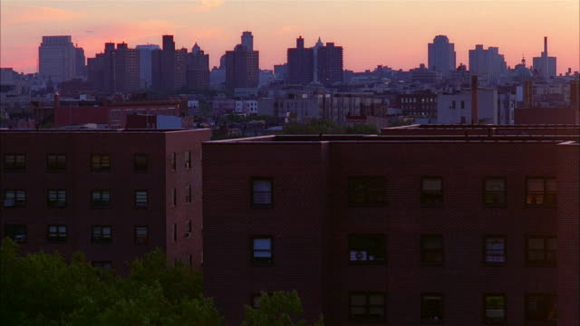high angle medium shot view of skyline at dusk / new jersey - 1995 stock videos & royalty-free footage