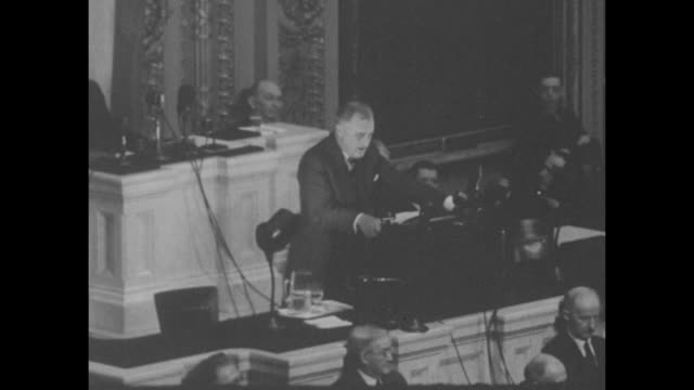high angle members of congress standing and applauding / president franklin d. roosevelt speech snippets, sots talking about social security,... - social security stock videos & royalty-free footage