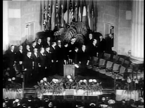 B/W 1949 high angle members of NATO entering room at United Nations / documentary