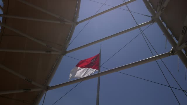 high angle mid shot flag at estadio beirario in porto alegre home to the sport club internacional one of brazil's biggest clubs the totally... - alegre stock videos & royalty-free footage
