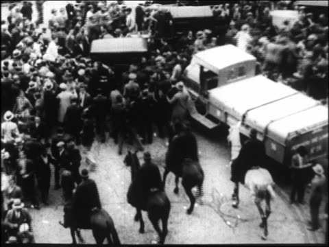 high angle mounted police pushing back crowd in riot / spain - 1931 stock videos & royalty-free footage