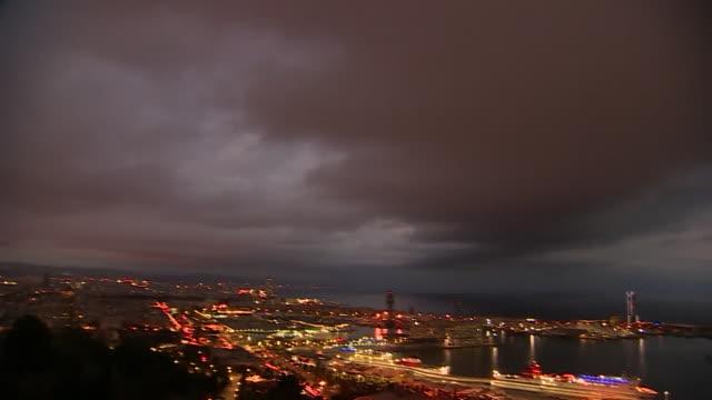 High angle night time view of Barcelona
