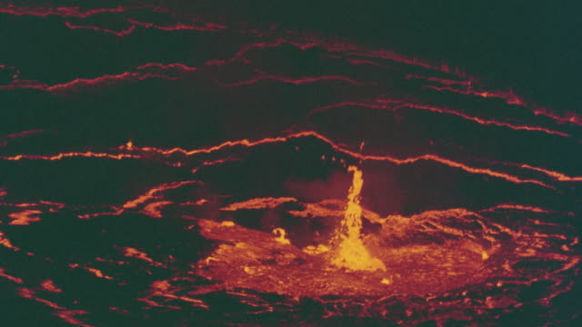 high angle of boiling lava of volcano / Zaire, Africa