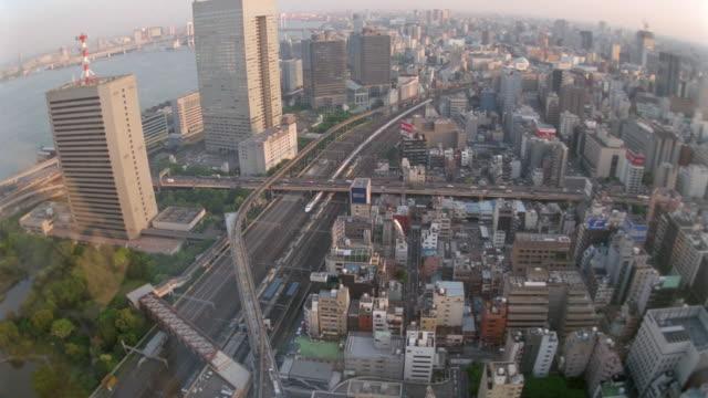 high angle of cityscape with trains traffic / Tokyo / Shinagawa / Hamamatsucho
