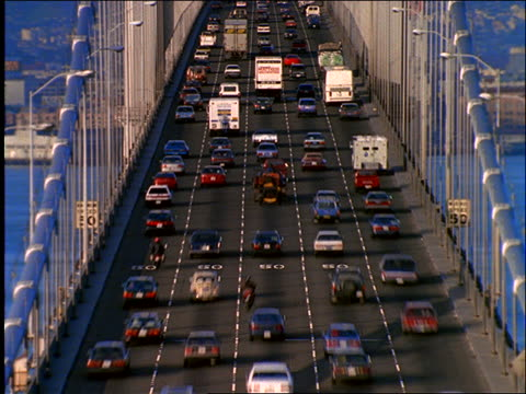 high angle of heavy time lapse traffic on Bay Bridge / San Francisco