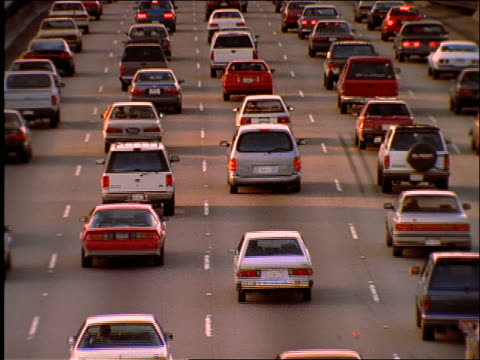high angle of heavy traffic on highway / los angeles / 405 freeway - 1997 stock-videos und b-roll-filmmaterial