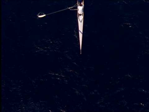 high angle of people rowing in crew boat - scull stock videos & royalty-free footage