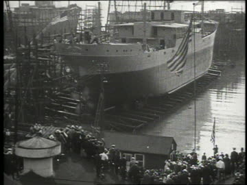 b/w high angle of ship being launched - 1920 stock videos & royalty-free footage
