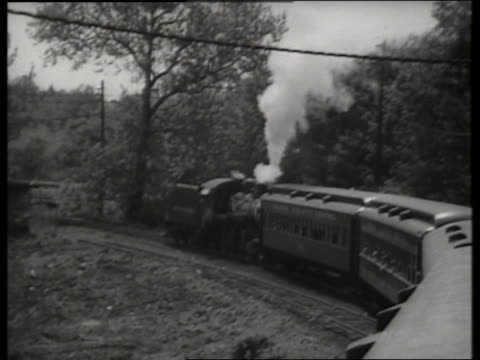 b/w high angle of steam train rounding corner / new jersey / sound - locomotive stock videos and b-roll footage