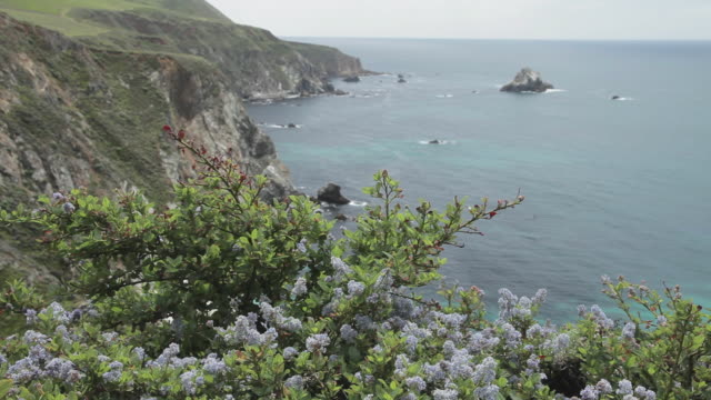 High Angle of the rugged coastline and the mountain side in Big Sur