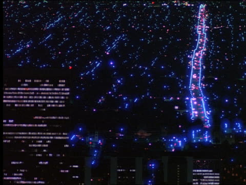 high angle of time lapse traffic in city at night