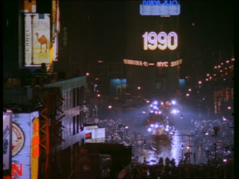 high angle of Times Square at night / New Year's Eve of 1990