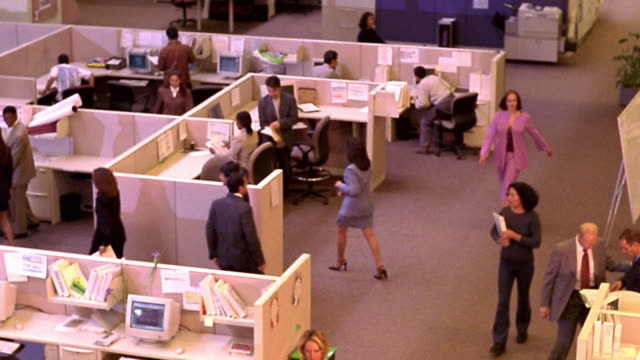 high angle office workers working + walking around in open office with cubicles - office partition stock videos & royalty-free footage