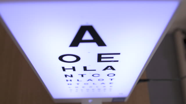 high angle on eye chart slow motion - type 1 diabetes stock videos & royalty-free footage
