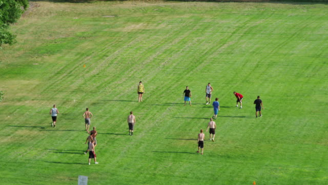 high angle overhead of 14 college students playing pick-up game of shirts vs skins touch football in a green grassy park. - touch football stock videos & royalty-free footage