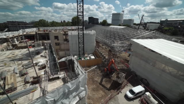 high angle panning shot of a hs2 construction site - rail transportation stock videos & royalty-free footage