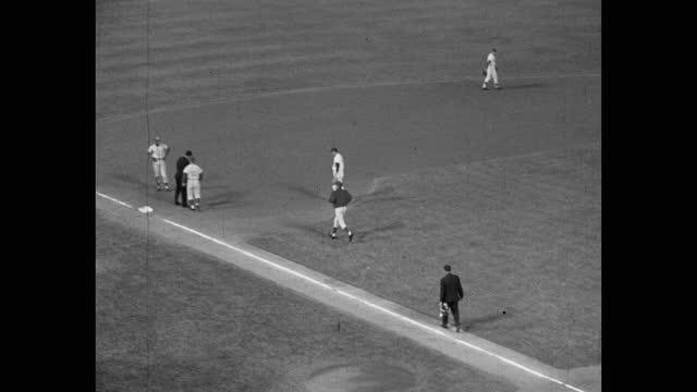 high angle panning shot of baseball player arguing with umpire on baseball diamond, dodger stadium, los angeles, california, usa - medium group of people stock videos & royalty-free footage
