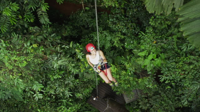 high angle panning shot of woman ziplining in rain forest / quepos, puntarenas, costa rica - zip line stock videos & royalty-free footage
