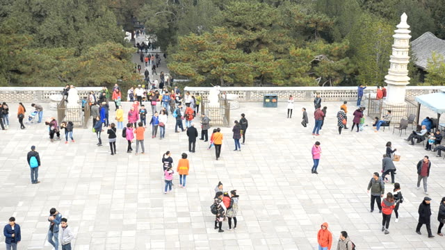 high angle panning:traveler crowd on the enter of summer palace