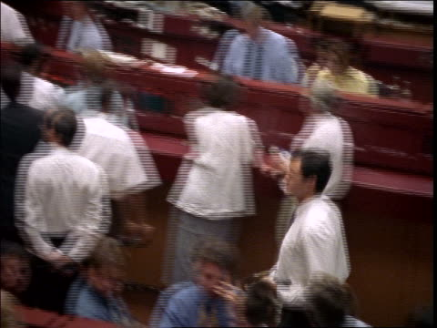 high angle pan people in frankfurt stock exchange / germany - frankfurt stock exchange stock videos and b-roll footage