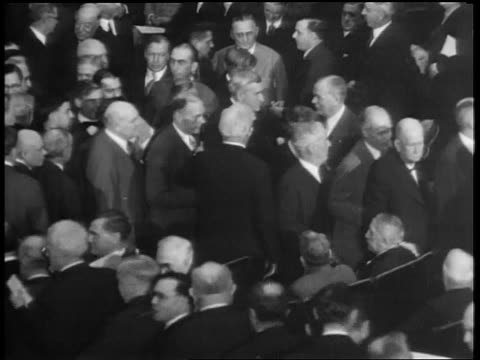 b/w 1933 high angle representatives slowly exiting chamber / house of reps repealing prohibition - 1933 stock videos & royalty-free footage
