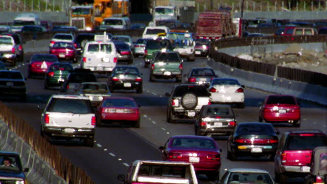 high angle rush hour traffic on highway / Los Angeles, California