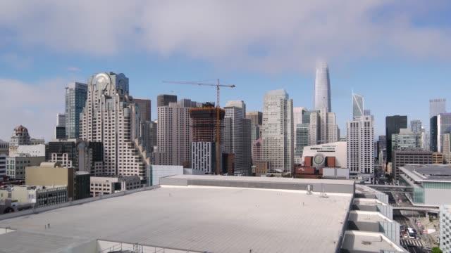 high angle san francisco skyline panning video - san francisco bay stock videos & royalty-free footage