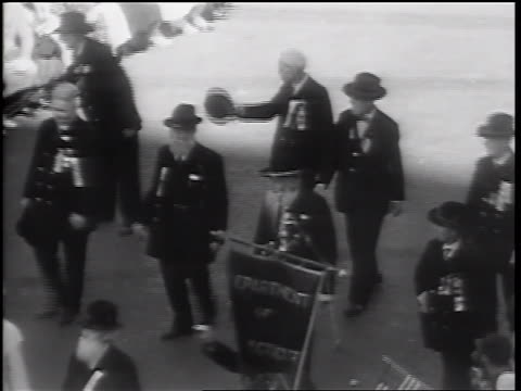 b/w 1932 high angle senior male civil war veterans walking in parade / springfield il - 1932 stock videos & royalty-free footage