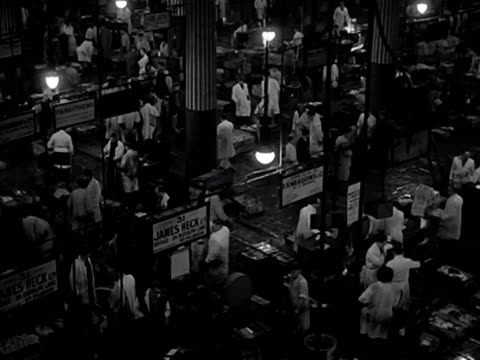 a high angle shot inside billingsgate market porters and salesmen walk around the fish stalls 1950's - retail occupation stock videos and b-roll footage