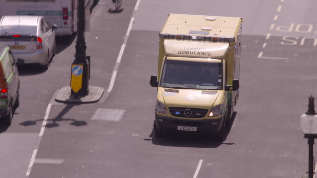 High angle shot of an ambulance travelling along Upper Regents Street.