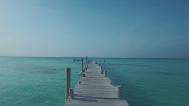 high angle shot of boardwalk and ocean - mayan riviera stock videos & royalty-free footage