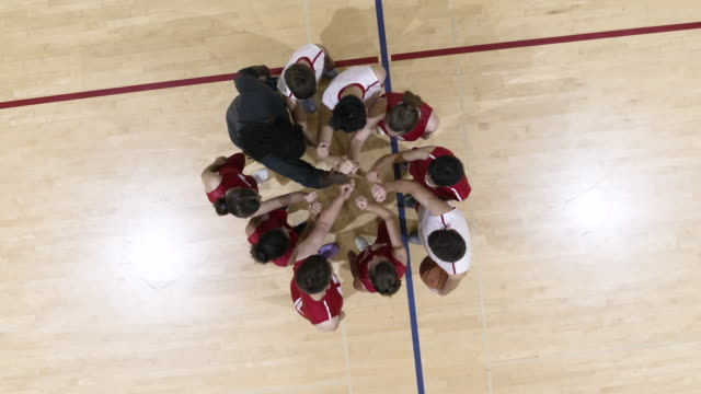 High angle shot of coed sports team huddle