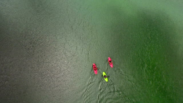 HD: High Angle Shot Of Kayakers On The Lake