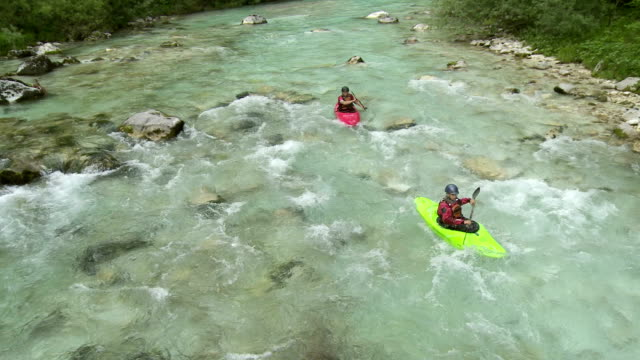 HD: High Angle Shot Of Kayakers On The River