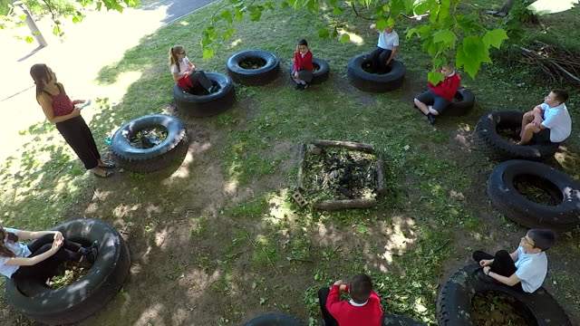 high angle shot of outdoor lesson as some year groups return to school as coronavirus lockdown restrictions are eased - shape stock videos & royalty-free footage
