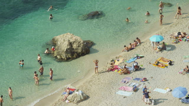 High angle shot of people enjoying the beach / Villafranche, France