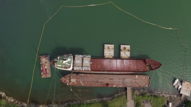 High angle shot of shipwreck