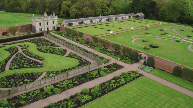 high angle shot of the designed gardens of floors castle - botany stock videos & royalty-free footage