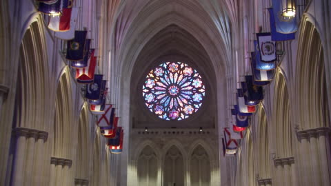 high angle shot of the stained glass òrose windowó inside of the washington national cathedral on september 31, 2018 in washington d.c. - religion or spirituality stock videos & royalty-free footage
