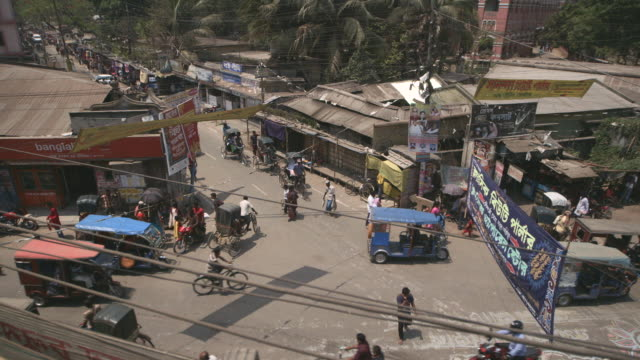 High angle shot over a street in the city of Dhaka, Bangladesh.