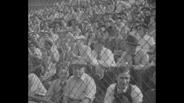 high angle shot the crowd in the grandstands decorated with bunting probably crosley field in cincinnati during the 1939 world series between the... - note pad stock videos & royalty-free footage