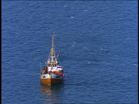stockvideo's en b-roll-footage met high angle small fishing boat on water / alesund, norway - visindustrie