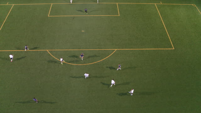 vídeos de stock e filmes b-roll de high angle soccer player scoring on opponents - campo de futebol