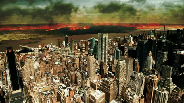 High Angle static - Wasteland smolders beyond New York City in a computer-generated animation. / New York City, New York, USA