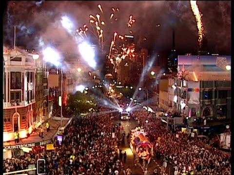 WA high angle, Street parade at Sydney Gay & Lesbian Mardi Gras, Fireworks overhead