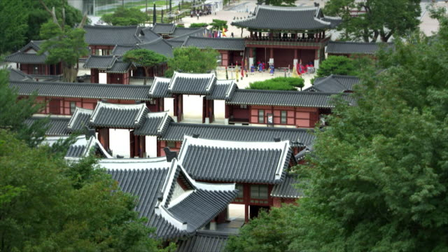 high angle suwon hwaseong fortress (unesco world heritage site) - suwon stock videos and b-roll footage