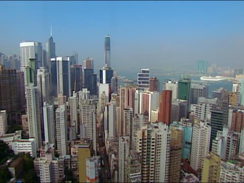 2002 high angle tilt down hong kong cityscape from descending skyscraper elevator/ medium shot skyscraper/ hong kong - bank of china tornet hongkong bildbanksvideor och videomaterial från bakom kulisserna