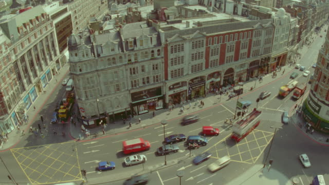 high angle time lapse car traffic / knightsbridge  / london, england - 1999 stock videos & royalty-free footage