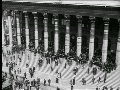 b/w 1927 high angle time lapse people going up + down stairs in front of bourse des valeurs / paris, france - paris stock exchange stock videos & royalty-free footage