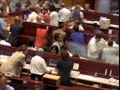 high angle time lapse people in frankfurt stock exchange / germany - frankfurt stock exchange stock videos and b-roll footage